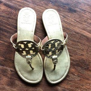 Tory Burch Gold Miller Sandals sz: 7